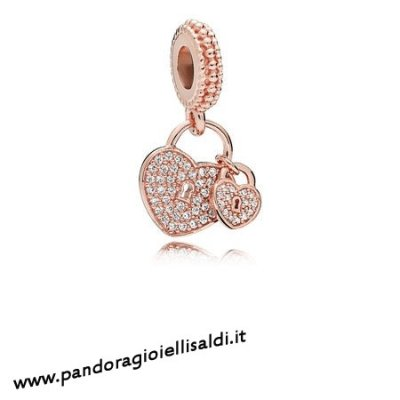 Completa Pandora Amore Locks Dangle Charm Pandora Rose Chiaro Cz
