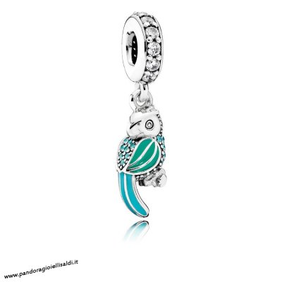 Completa Pandora Animali Charms Tropicale Parrot Penzolare Charm Smalto Mistos Teal Clear Cz