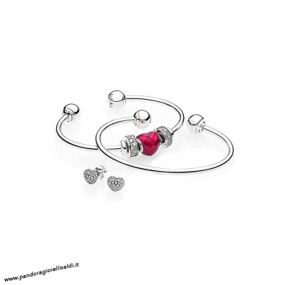 Completa Pandora Be Mine Stacked Open Bangle Regalo